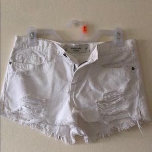 A&F high waisted white denim shorts